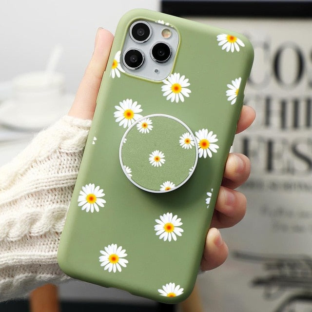 Cute Cartoon Kawaii Flower Phone Case iPhone 11 Pro X XS XR Max 6/7/8 Plus best Cover kawii pretty green protective cellphone apple girlie