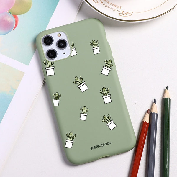 Cute Green Cactus Cartoon İPhone Case Flower Phone Cover