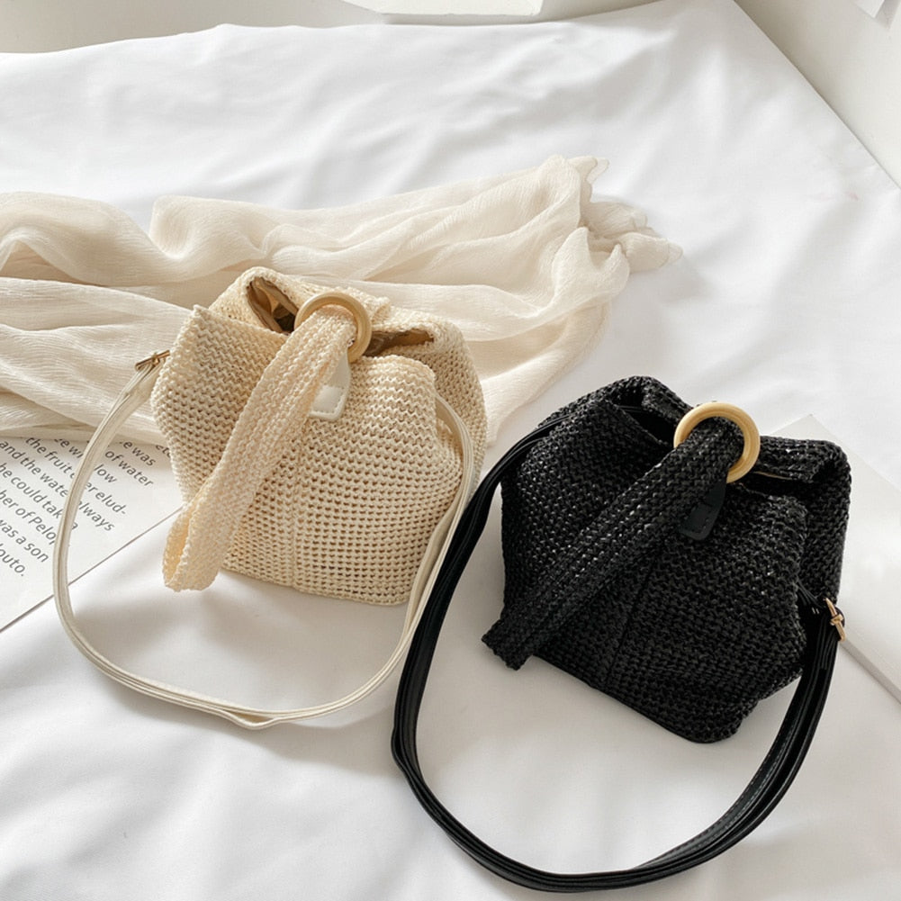 Summer Fashion Wicker Rattan Bag Women's Fashion Mini Bucket Bags LABONNI