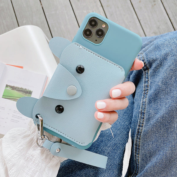 Cute Dog Wallet Phone Case iPhone Leather Phone Cover With Lanyard