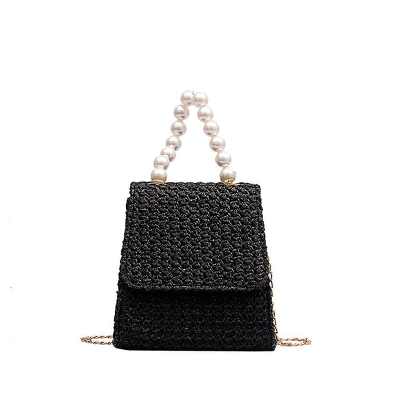 Square Straw Pearl Chain Strap Hand-Woven Crossbody Bags
