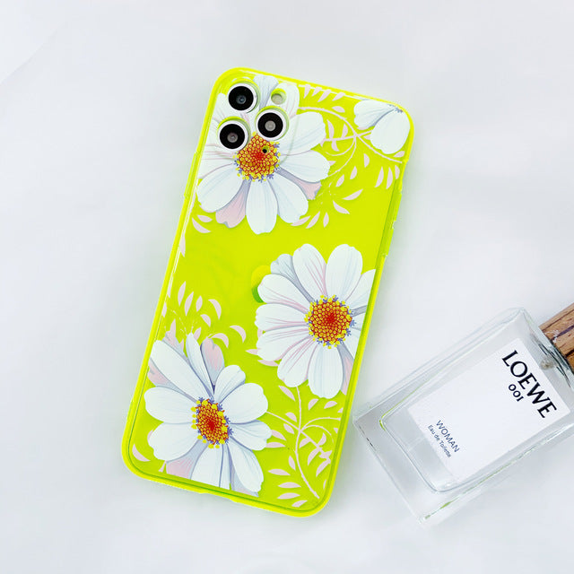 Neon Fluorescent Transparent Daisy Flower Flamingo Cute Candy Color Phone Case for iPhone 11 X/XS/XR Max 6/7/8 Plus