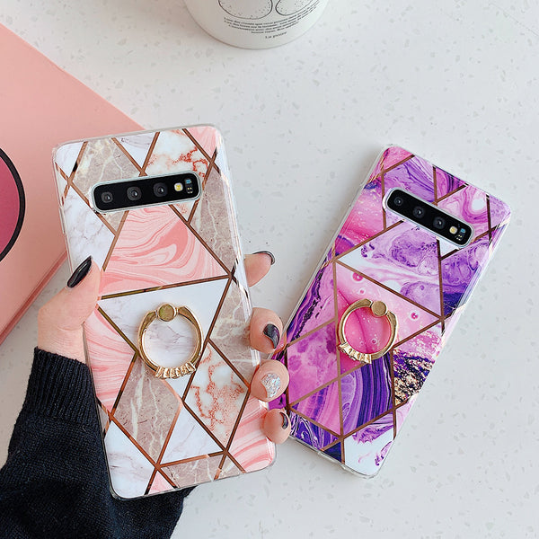 Samsung Marble Case Ring Stand Phone Back Cover
