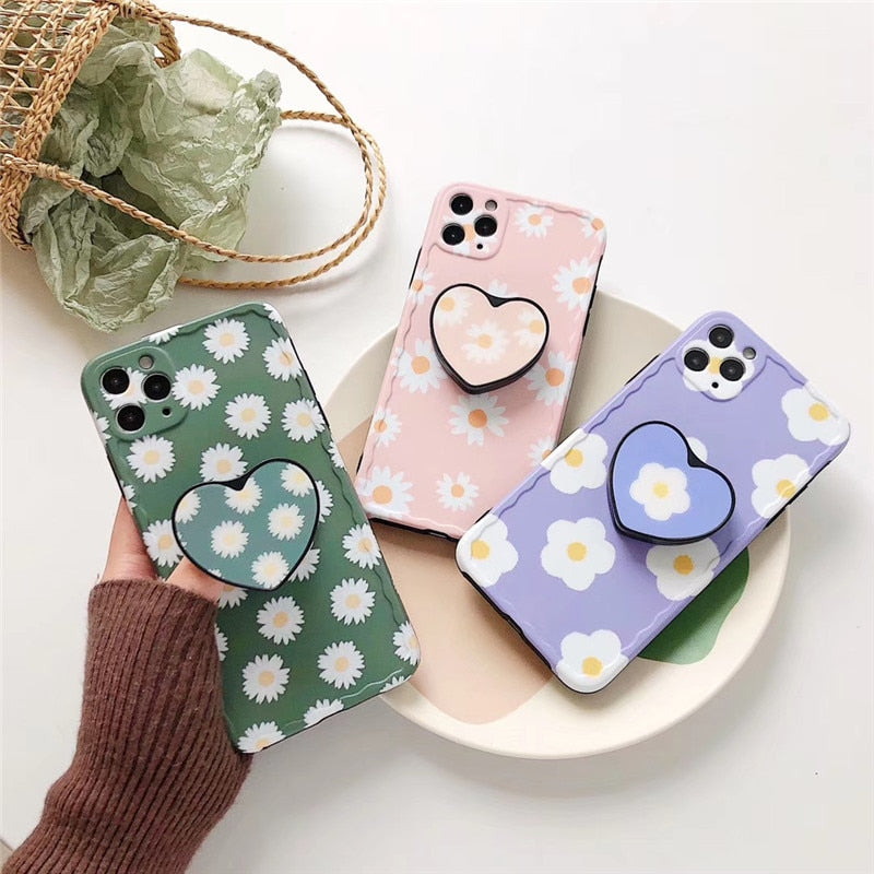 Cute Lovely Daisy Flower 3D Holder Stand Silicone iPhone Case