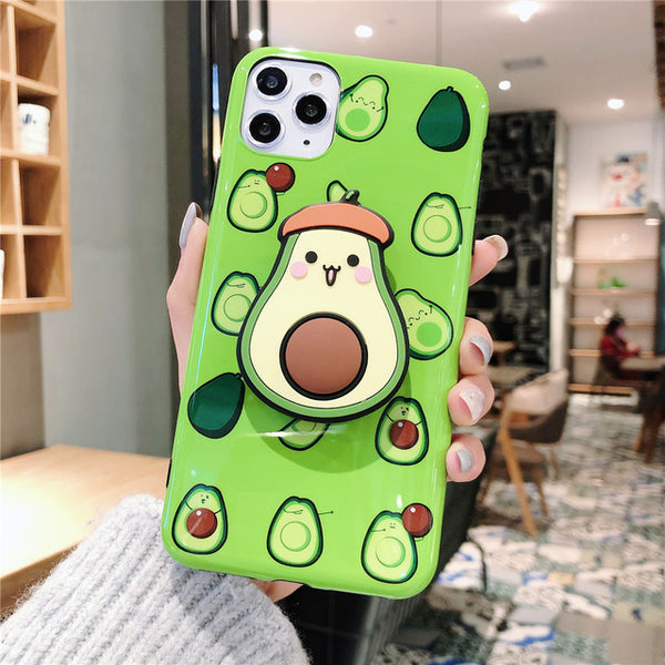 3D Cute Cartoon Kawaii Fruits Avocado Phone Case For iPhone 11 Pro X/XS/XR Max 6/7/8 Plus Back Cover with Popsocket Finger Holder