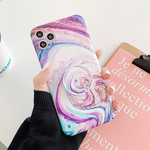 Starry Milky Way Marble Phone Case iPhone Watercolor Art Scrub Phone Cover