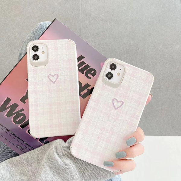 3D Relief Love Heart Phone Cover Matte Leather iPhone 11 Case