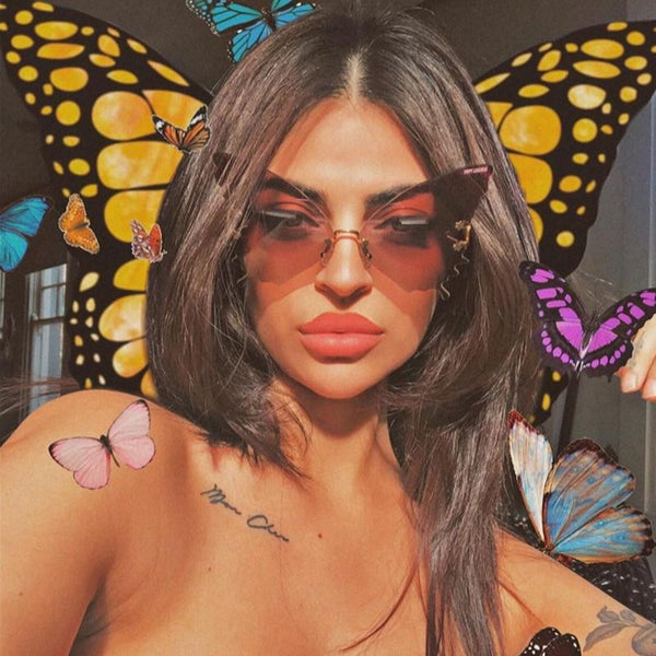 Oversized Butterfly Rimless Sunglasses