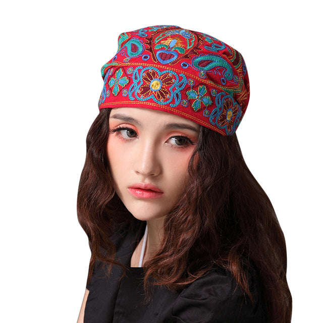 Women Mexican Style Ethnic Vintage Cap Embroidery Flowers Bandanas