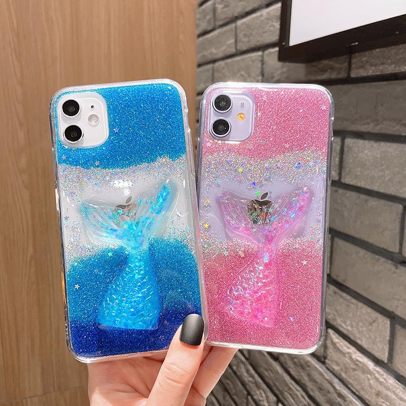 Shining Sequin Mermaid Silicone iPhone Case  Clear Glitter Phone Cover