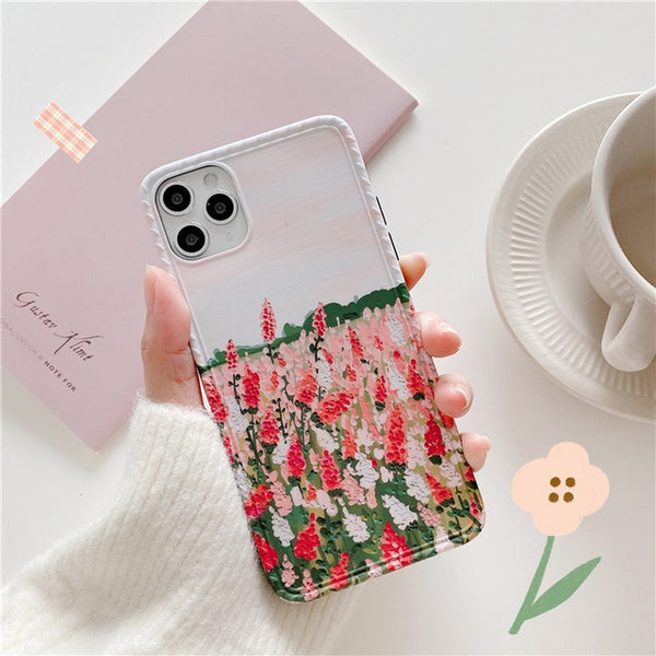 INS Art Oil Painting Cute Flowers Phone Case For iPhone 11 Pro Max