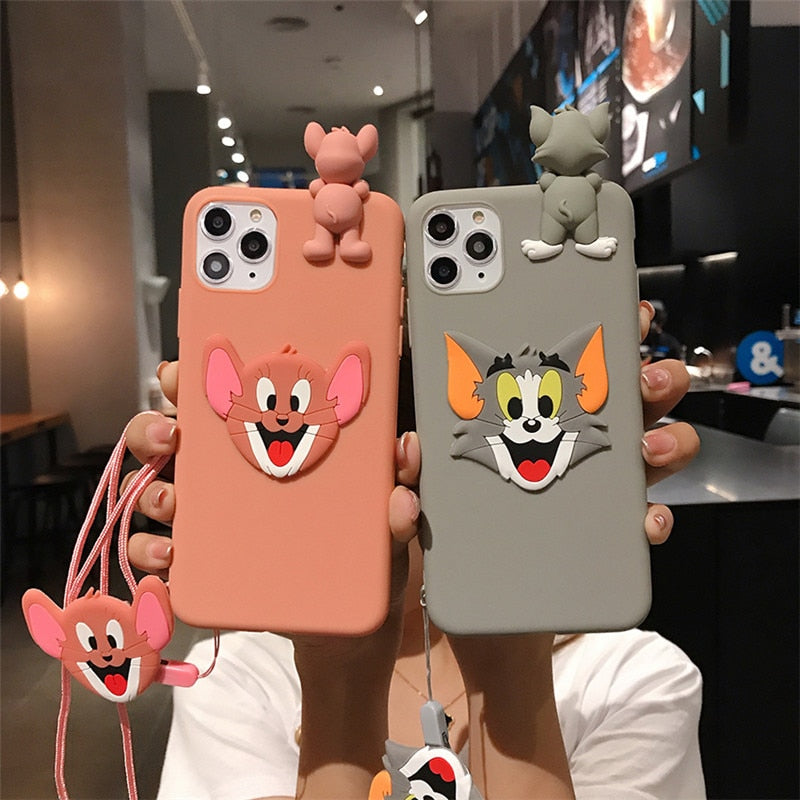 Funny 3D Cartoon Cute Cat iPhone Case Doll Strap Lanyard PopSockets iPhone Cover