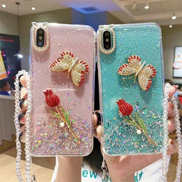 Bling Glitter Rose Butterfly iPhone Case with Beaded Lanyard