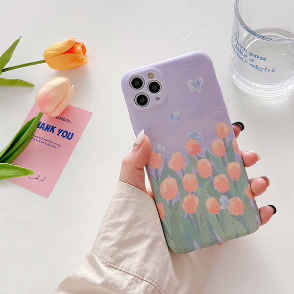Oil painting Tulip Floral Cute Butterfly Phone Back Cover for iPhone X/XS/XR Max 6/7/8 Plus