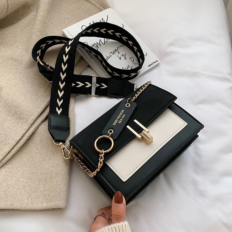 2020 Hot New Trendy Women's Fashion Retro Square Flap Bag with Chain Strap & Wide Shoulder Strap