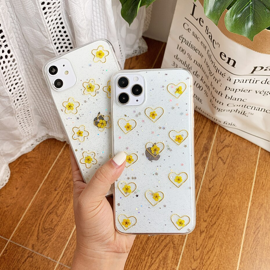 Glitter Stars Clear Phone Case For iPhone 11 Pro 2020 Real Flowers Love Heart Soft Cover