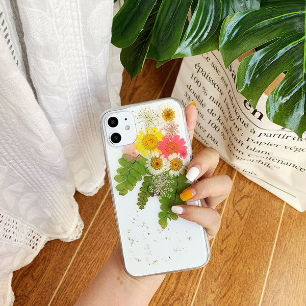 Natural Handmade Cute Yellow Pink Real Dried Flower Soft Phone Case for iPhone 11 Pro X/XS/XR Max 6/7/8 Plus