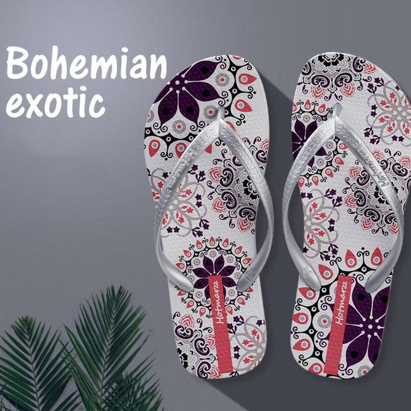 Girls Floral Bohemia Beach Sandals Flat Flip Flops