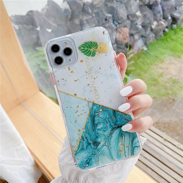 Luxury Gold Powder Marble Case For iPhone Soft Silicon Epoxy Phone Cover