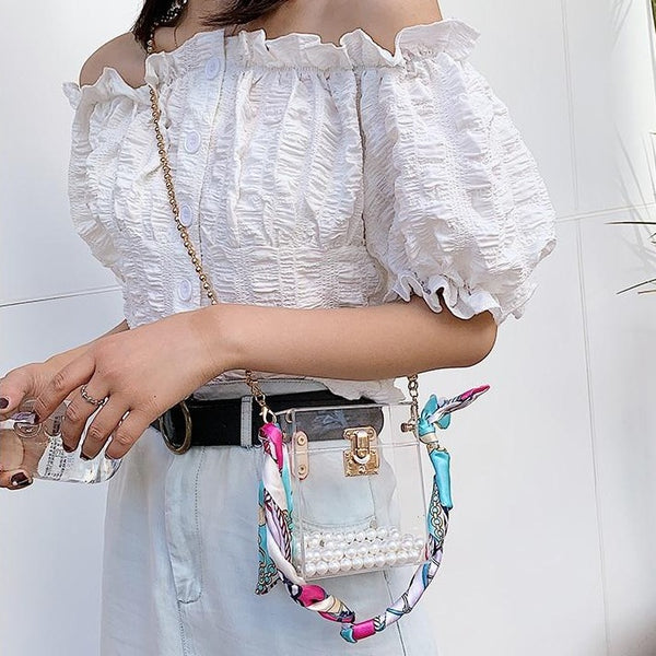 Transparent Box Pearl Shoulder Chain Crossbody Mini Bag