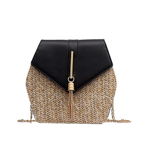 Hexagon Shoulder Bag Vintage Boho Straw Beach Bags