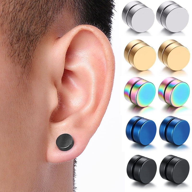Stainless Steel Earrings Magic Strong Magnet Fake Magnetic Earrings