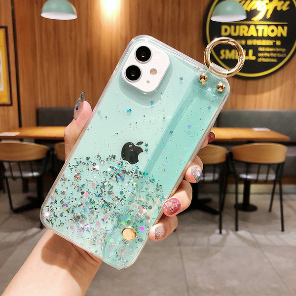 Transparent iPhone Case Gradient Glitter Powder Phone Cover & Wrist Strap