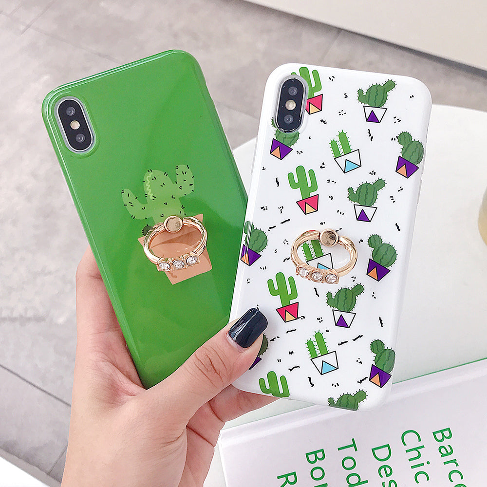 Cute Cactus iPhone Cases Unique Design Candy Color Phone Cover
