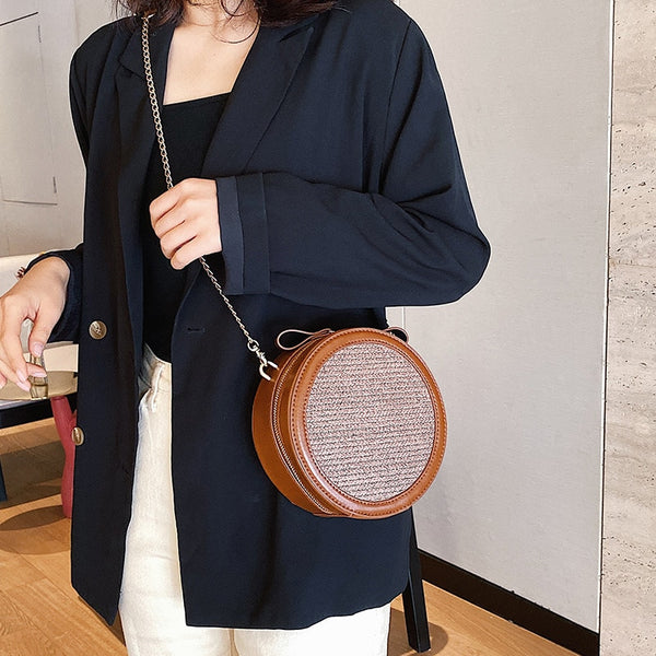 Bohemian Straw Bags Round Leather & Straw Woven Handbag