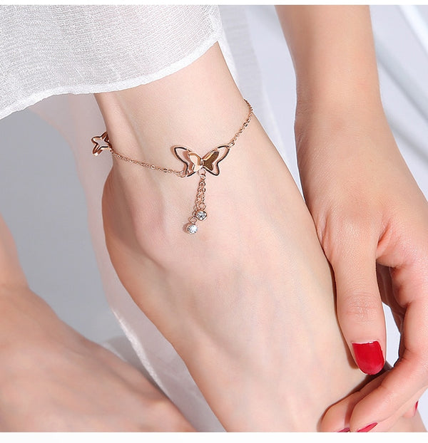 Butterfly Anklet For Women Steel CZ Chain Foot Jewelry