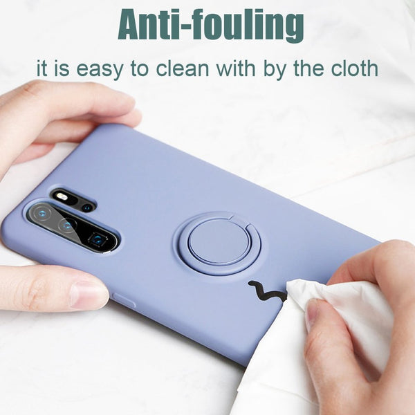 Simple Matte Color Samsung Case Ring Stand Silicone Phone Cover