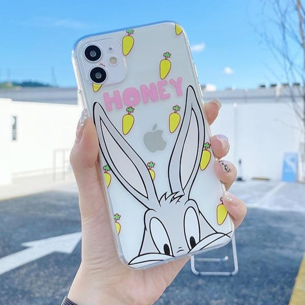 Cute Cartoon Bugs Bunny Clear Phone Case for iPhone 11 Pro X/XS/XR Max 6/7/8 Plus