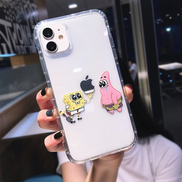 Cute Cartoon Transparent Phone Case Shockproof Funny iPhone Cover