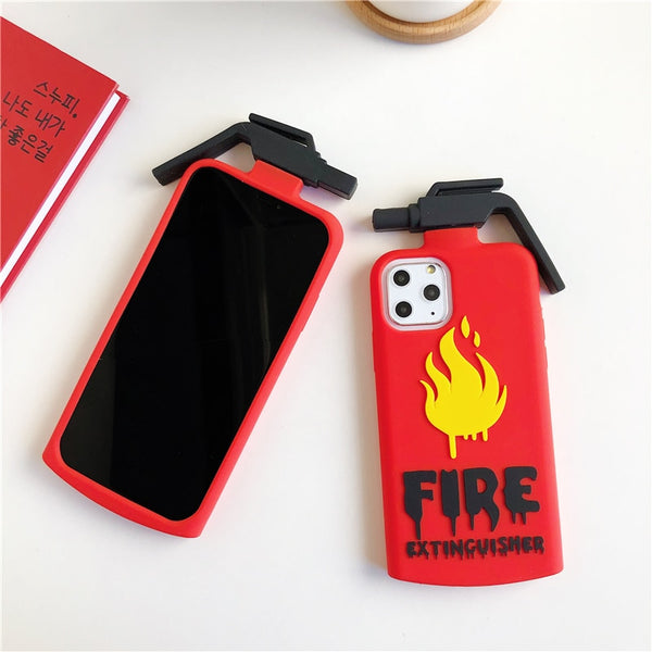 Cute 3D Cartoon Fire Extinguishers Silicone Case For iPhone 11 Pro Max