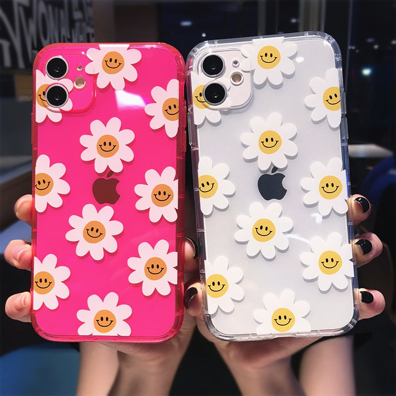 Fluorescent Color Flowers Daisy Smile Phone Case For iPhone - LABONNI