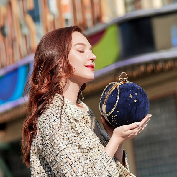 Women's Mini Suede Starry Sky Clutch Evening Bag