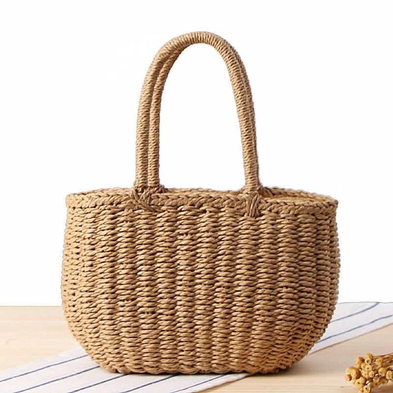 Boho Knitted Basket Straw Bags Woven Top-handle Tote Cute Bucket Bags