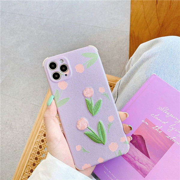 3D Luxury Embroidery Flower Phone Case iPhone
