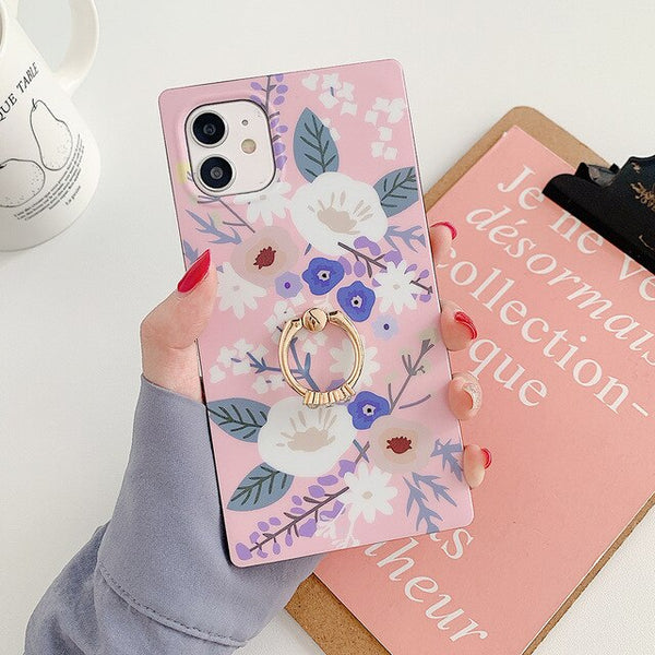 Retro Flower & Leaf Square iPhone Case With Finger Ring