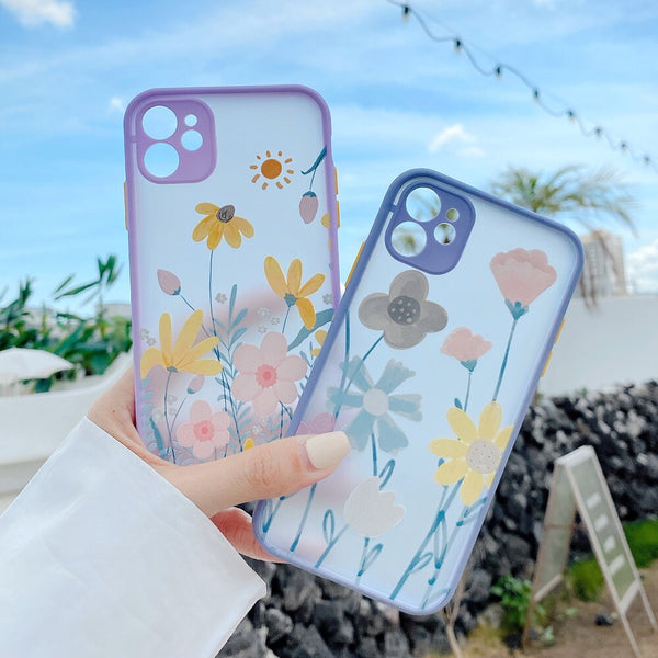 Cute Watercolor Flower Phone Case For iPhone 11 Pro Max