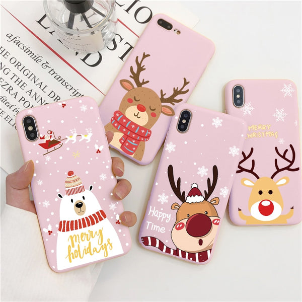 Cute Cartoon Pink Christmas Phone Case for iPhone