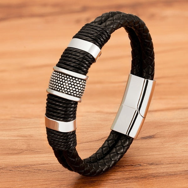 Mens Designer Bracelets Genuine Leather Double Layer Magnet Buckle Bangle