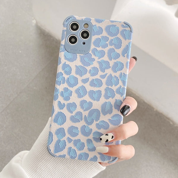 3D Relief Leather Soft Silicone Leopard Print Phone Cases For iPhone 11 Pro