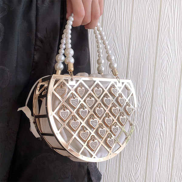Metal Bucket Hollow Design Luxury Pearl Evening Bag Banquet Party Totes