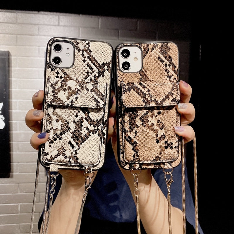 New Snakeskin Pattern Card Holder Phone Case For iPhone & Lanyard - LABONNI