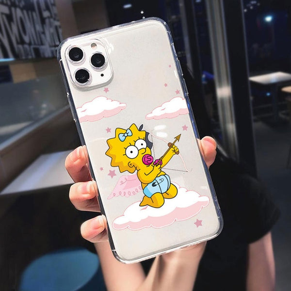 Funny Simpson Eat Apple LOGO Fashion Silicone Phone Cases For iPhone