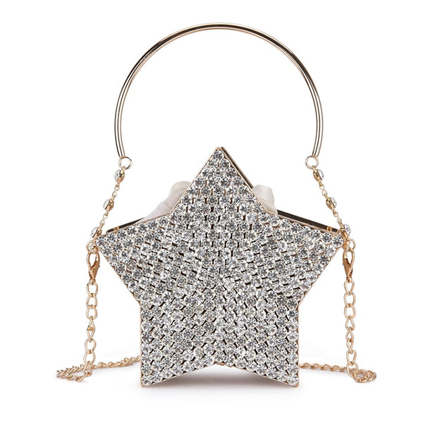 Luxury Diamond Silver Star Design Evening Clutch Bag