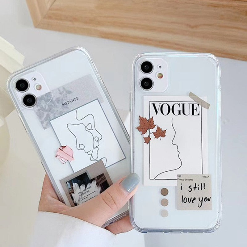 Artistic Face Letter Art Design iPhone Case For iPhone Transparent Silicone Phone Cover