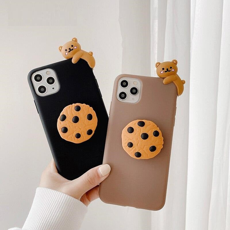 3D Cartoon Biscuit Bear Doll holder Phone Case for iPhone