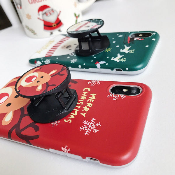 Merry Christmas Cartoon Deer Snowman iPhone Case - LABONNI